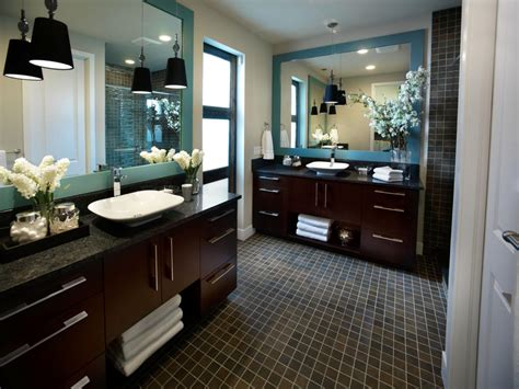 contemporary master bathroom with wood vanities a