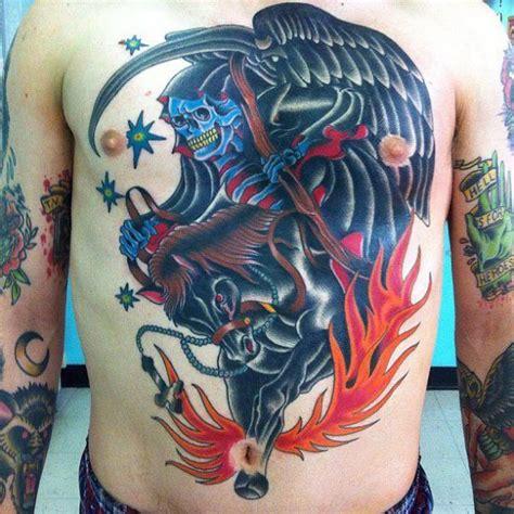 school chest belly death horse flame tattoo  da