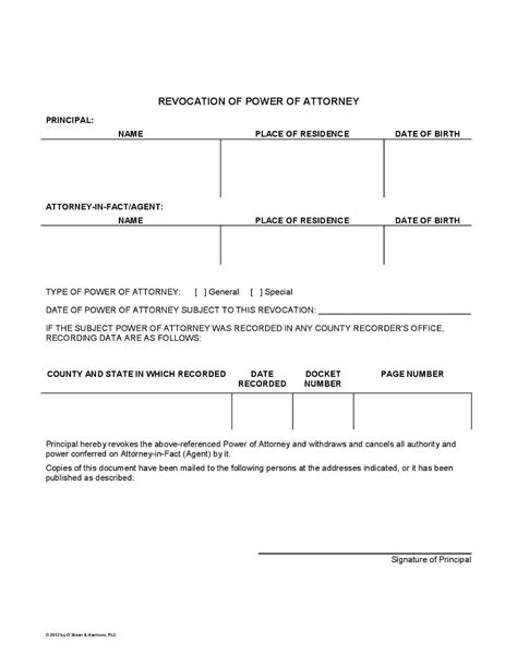 exle of power of attorney form general and revocation power of attorney forms templates