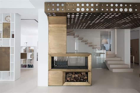 burnished brass fireplace focus  minimalist home