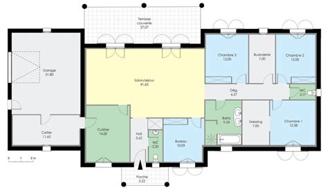 plan maison contemporaine plain pied toit plat