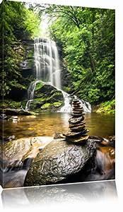 Bilder Feng Shui Steine : zen steine vor wasserfall format 100x70 auf leinwand xxl riesige bilder fertig gerahmt mit ~ Whattoseeinmadrid.com Haus und Dekorationen