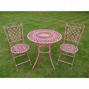 Table Fer Forgé Jardin : table de jardin ronde en fer forg avec deux chaises pliantes ~ Teatrodelosmanantiales.com Idées de Décoration