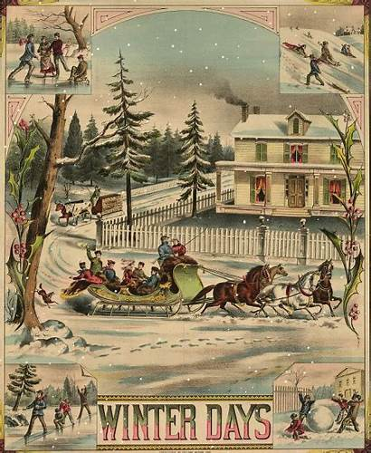 Christmas Victorian Winter Scenes Ives Scene Currier