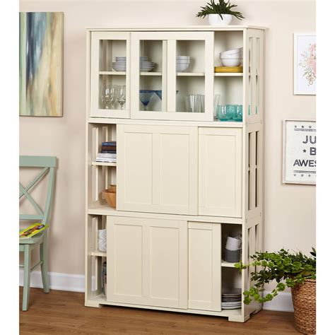 wood storage cabinet sliding wood doors stackable storage cabinet