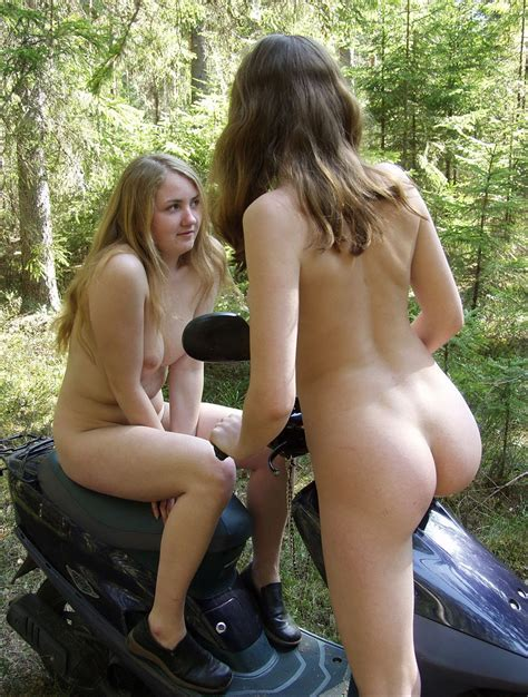 Two Russian Teens Posing Naked On Motorbike At Forest