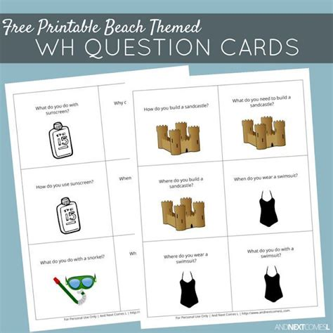 printable beach themed wh question cards  images