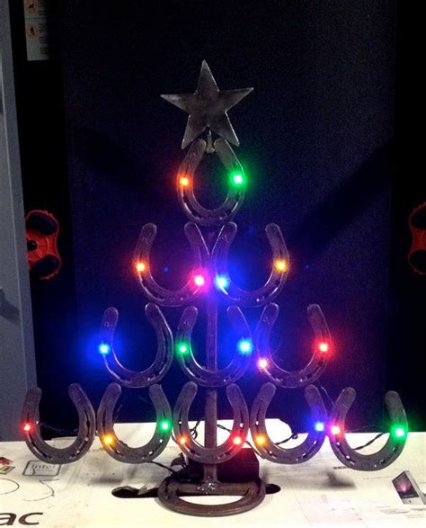 christmas tree made from steel horseshoes with battery