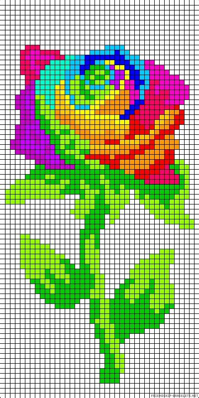 rainbow flower perler bead pattern    casecross