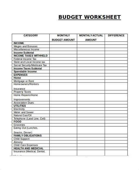 Simple Budget Template Monthly Budget Worksheet Simple Monthly Budget Template