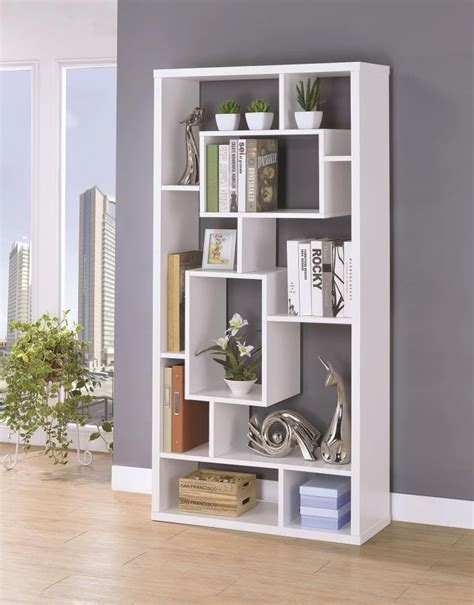 White Office Bookcase by Home Office Bookcases Modern White Asymmetrical Cube