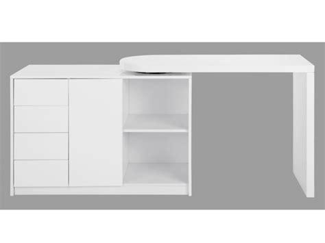 bureau pivotant bureau extensible pavel 4 tiroirs 1 porte laqué blanc