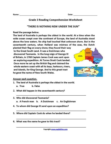 sun  grade reading worksheets