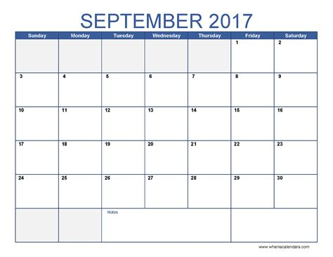 September 2017 Calendar Template September 2017 Calendar Template Calendar Printable Free