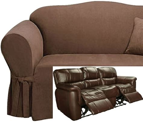 Sofa Covers For Reclining Sofas by Dual Reclining Sofa Slipcover Suede Chocolate Sure Fit