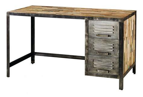bureau metal et bois bureau déco industrielle en bois et métal