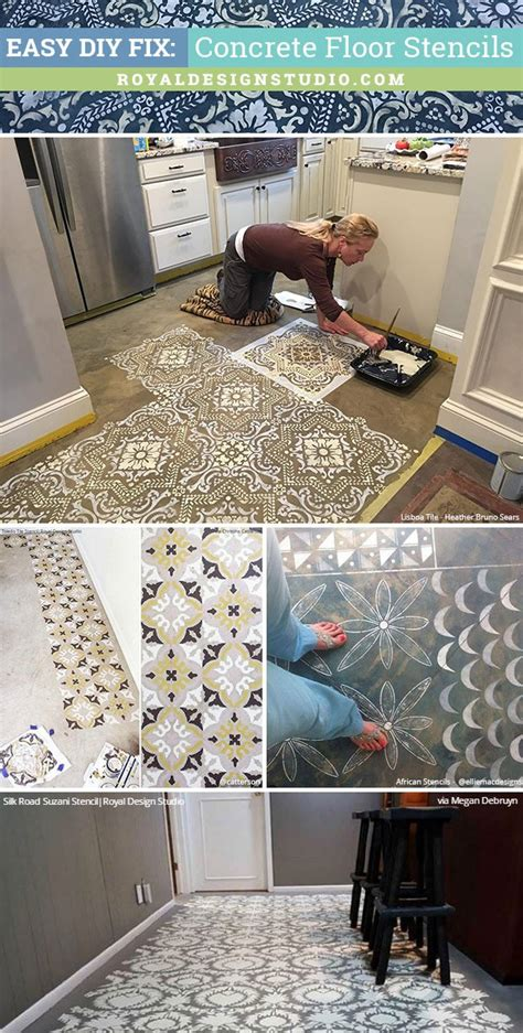 easy diy fix concrete floor stencils for painting and remodeling royal design studio stencils