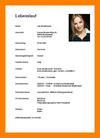 Wie Gestalte Ich Einen Lebenslauf by 14 Lebenslauf Bewerbung Schule Mjindc
