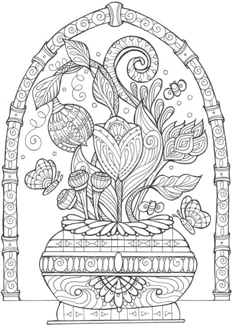 Vase of Flowers Adult Coloring Page FaveCrafts com