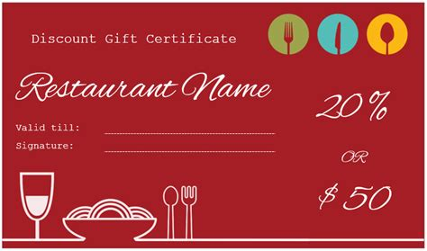 Restaurant Gift Certificate Template by Gift Certificate Templates