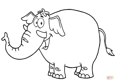 happy cartoon elephant coloring page  printable