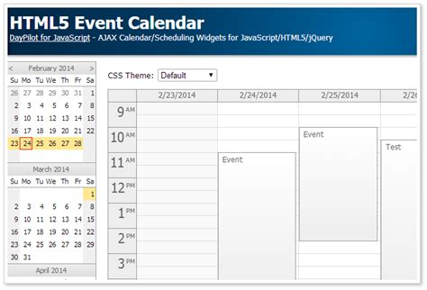 html event calendar open source daypilot code