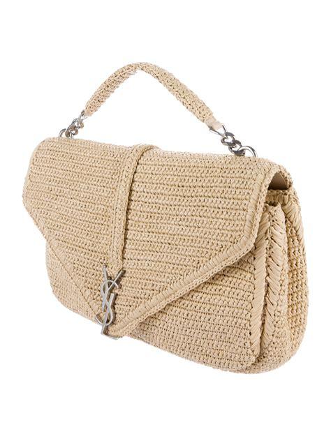 saint laurent medium monogram straw shoulder bag