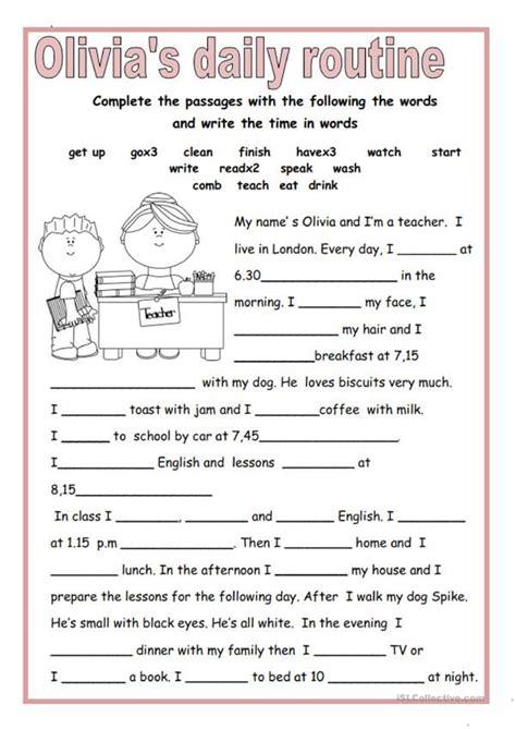 olivias daily routine english esl worksheets
