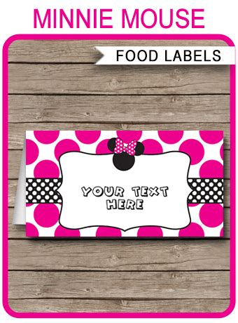 minnie mouse party food labels place cards minnie