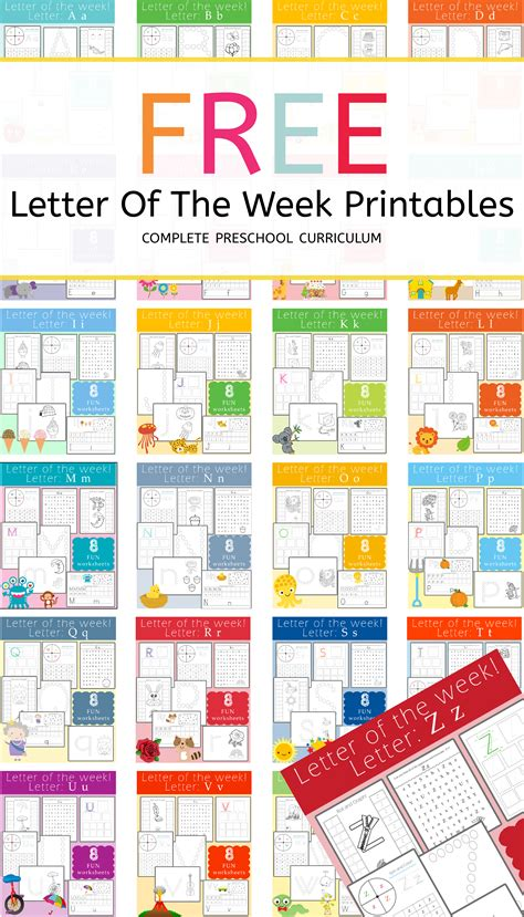 free letter of the week printables letter z preschool 371   Letter of the week printables Complete Set