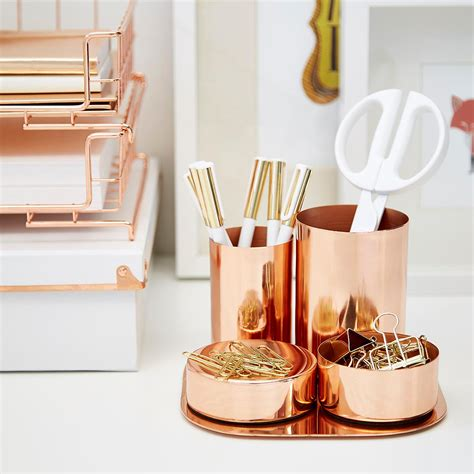 gold desk organizer set copper magnetic desk set the container store