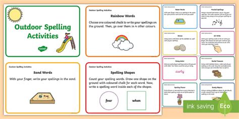 outdoor spelling activities challenge cards spelling