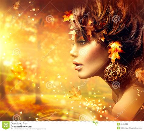 Autumn Woman Fantasy Fashion Portrait Stock Photo - Image