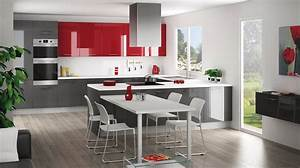 cristal anthracite rouge discac cuisines salles de bains With meuble de salle a manger avec credence cuisine gris anthracite