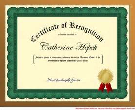 Recognition Award Certificate Template Word