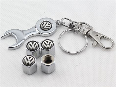 2018 wheel tire valve caps with mini wrench keychain for