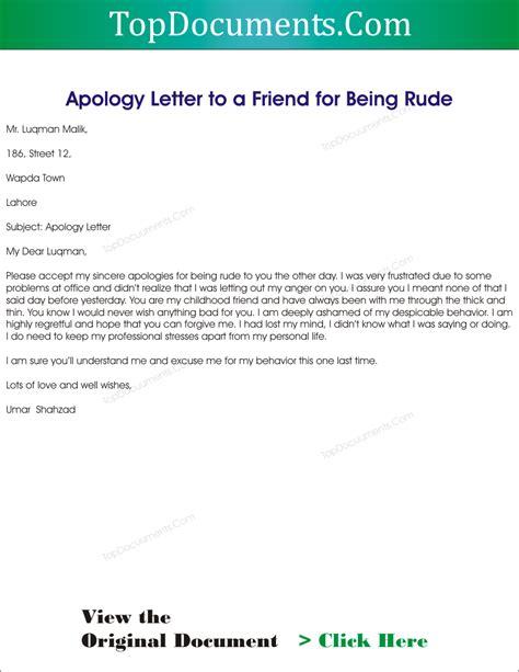 apology letter  bad behavior sample letter