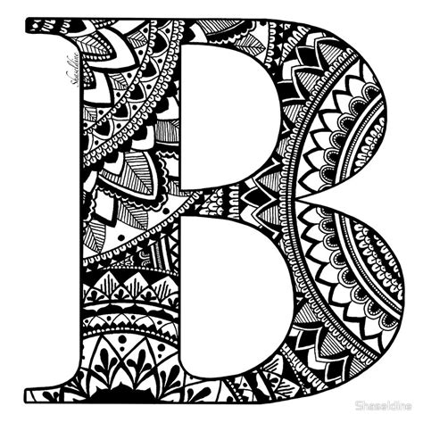 Kleurplaat Mandala Letter D by Quot Mandala Letter B Quot By Shaseldine Redbubble