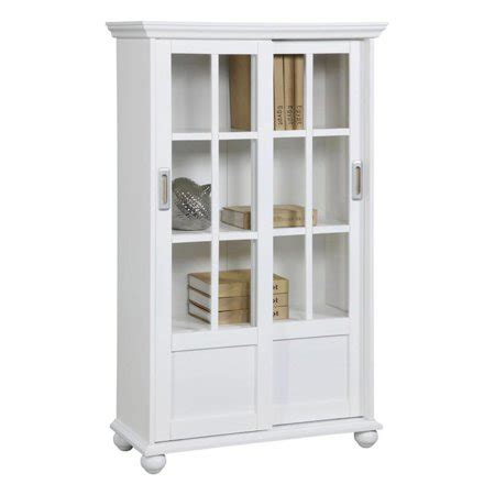 White Bookcases With Glass Doors by Altra Aaron Bookcase With Sliding Glass Doors White