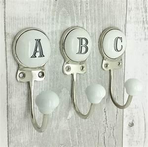 ceramic alphabet or number letter wall coat rack hook by g With alphabet letter wall hooks