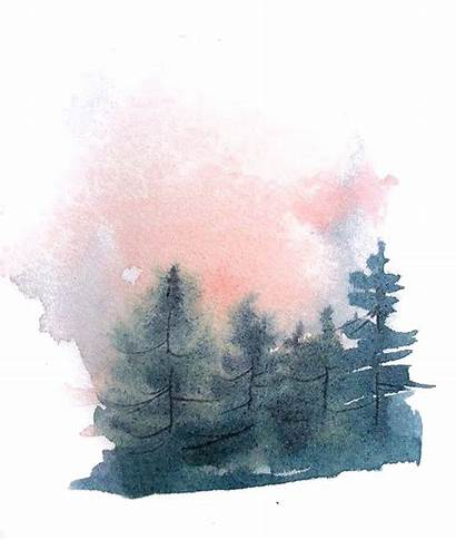 Watercolor Tree Forest Pine Painting Drawing Silhouette