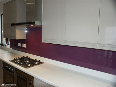 Paint Colour Ideas For Kitchen - pink and purple glass splashbacks