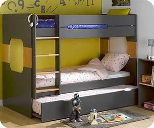 Lit D Enfant Avec Barrière : lit superpos spark gris et h tre 90x200 cm avec sommier ~ Premium-room.com Idées de Décoration