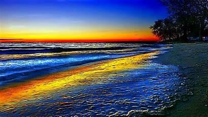Ocean Beach Scene Rainbow Wallpapers Colorful Wave