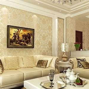 Damascus minimalist beige blue wallpaper bedroom wall ...