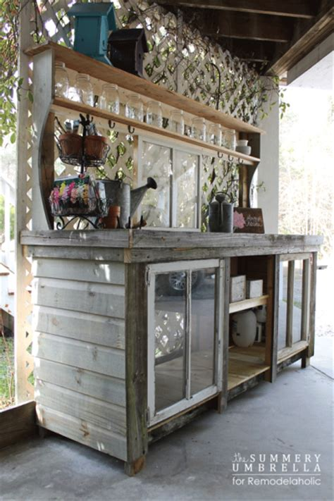 how to build a potting bench remodelaholic how to build a buffet from windows and