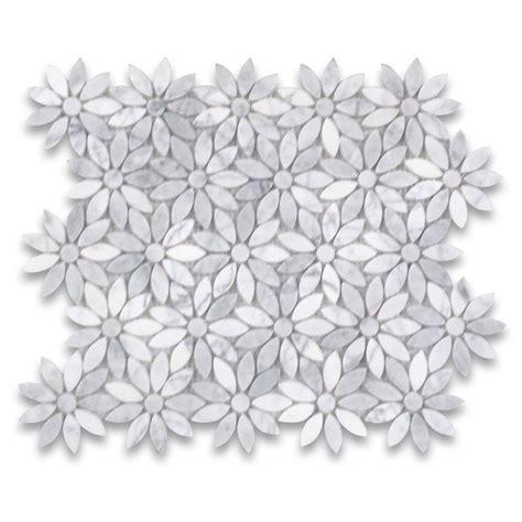 basketweave subway carrara white flower pattern mosaic tile polished