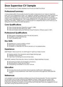 Where Can I Get My Cv Done For Free by Door Supervisor Cv Sle Myperfectcv