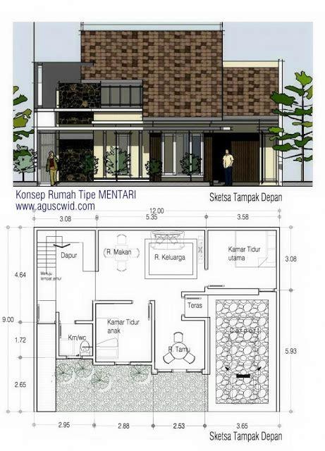 new denah rumah minimalis 2 lantai melebar