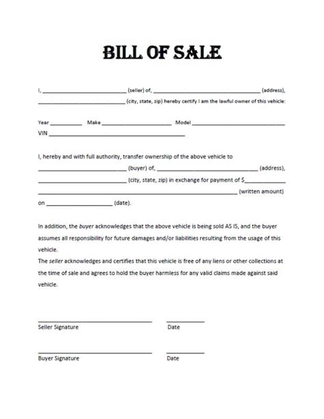 Bill Of Sale Template Pdf Motorcycle Bill Of Sale Pdf Template Business